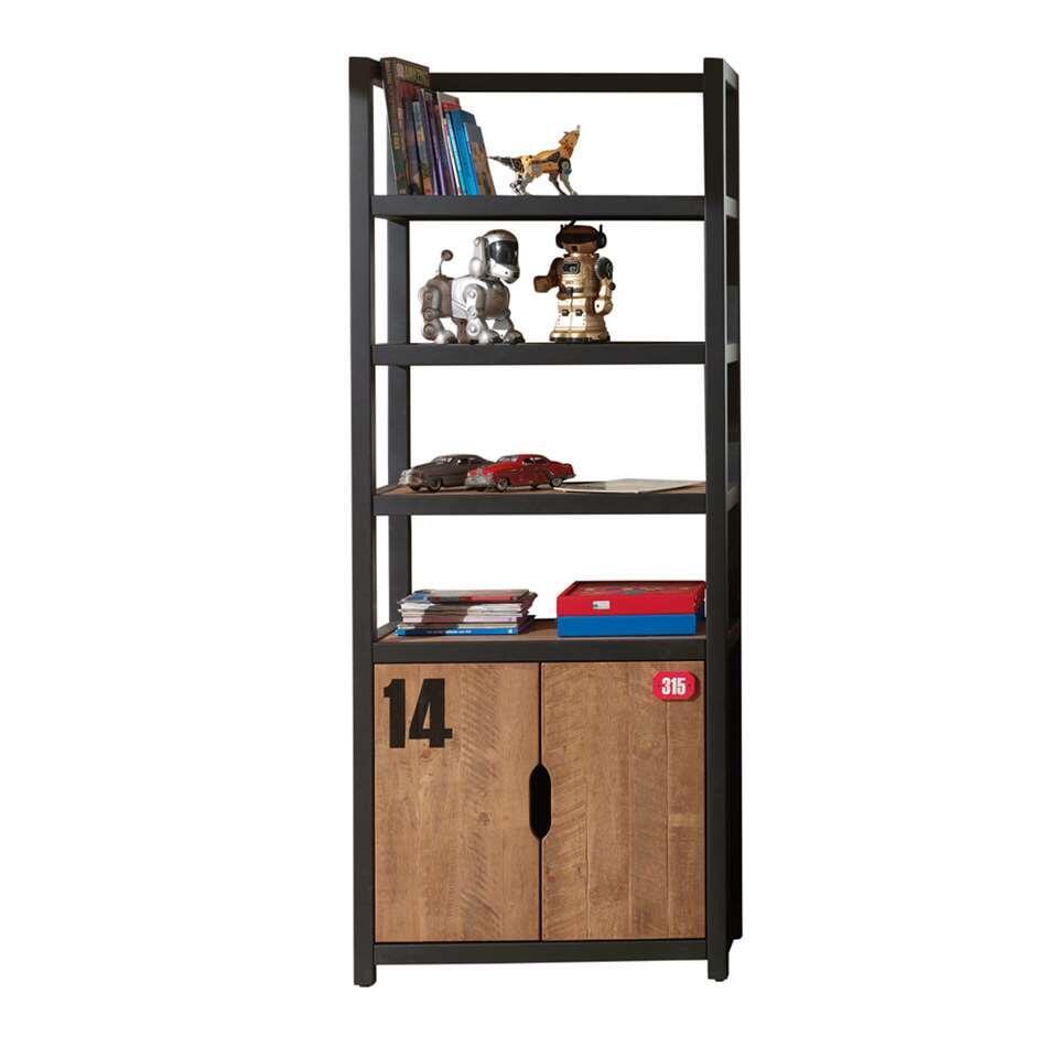 Vipack boekenkast Alex - bruin/zwart - 200x80x40 cm - Leen Bakker