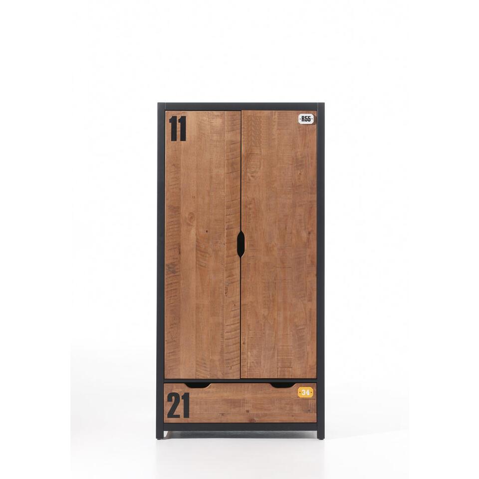 Vipack 2-deurs kledingkast Alex - bruin/zwart - 200x100x55 cm - Leen Bakker