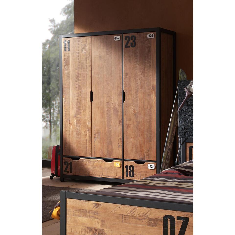 Vipack 3-deurs kledingkast Alex - bruin - 200x147,4x55 cm - Leen Bakker