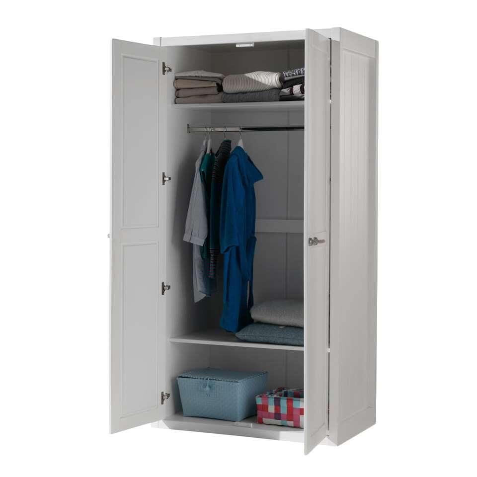 Vipack 2 deurs kledingkast lewis wit 205 8x96 8x80 cm for Kledingkasten outlet