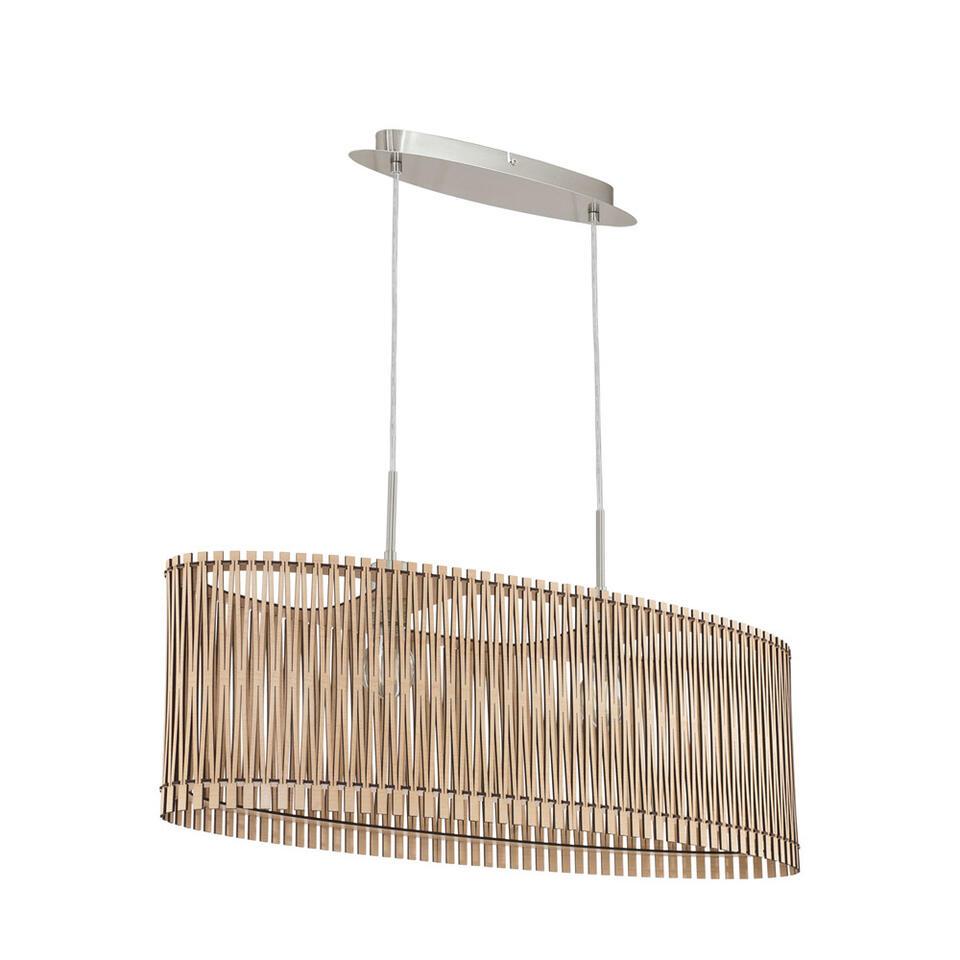 Hanglamp Sendero van EGLO is een opvallend model lamp met open structuur.De lamp is gemaakt van hout en staal in de kleur ahorn. De lamp is geschikt voor 2 lichtbronnen met E27 fitting.