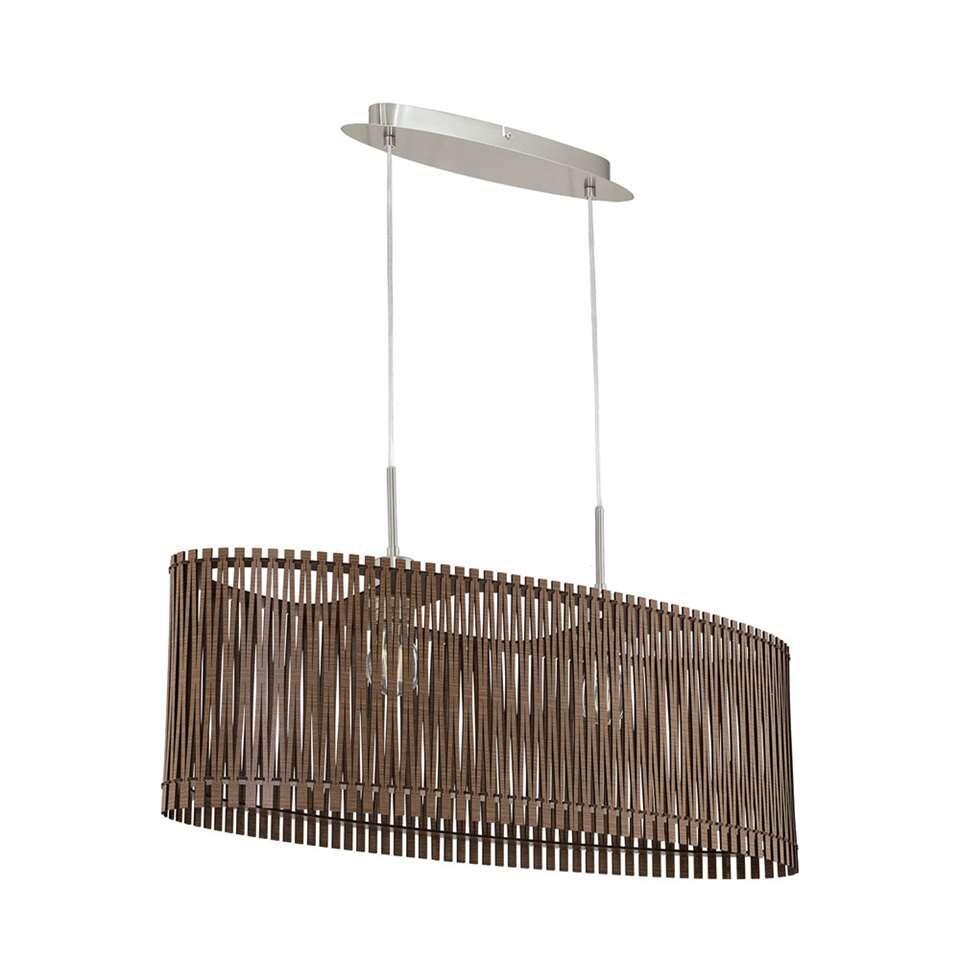 Hanglamp Sendero van EGLO is een opvallend model lamp met open structuur.De lamp is gemaakt van hout en staal in de kleur donkerbruin. De lamp is geschikt voor 2 lichtbronnen met E27 fitting.