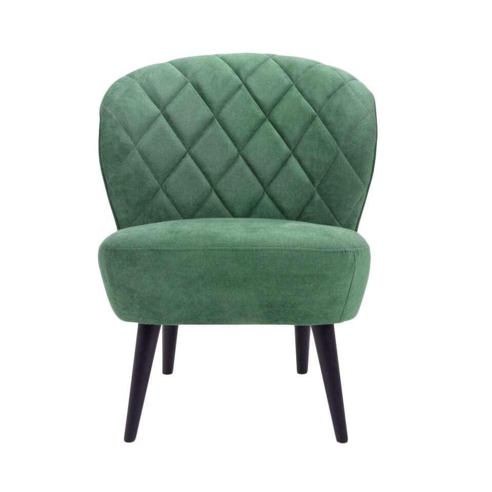 De Vita is een retro look fauteuil die absoluut niet mag ontbreken in je inrichting! Deze mooie vormgegeven fauteuil is uitgevoerd in een fijne,donkergroene Orinoco stof met zwarte poot.