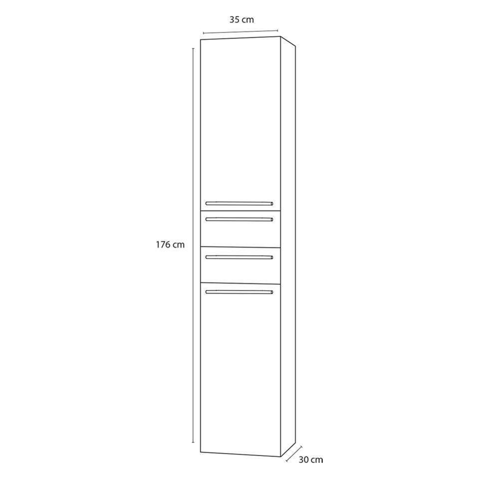 hoge badkamerkast (kolomkast badkamer) Differnz MDF Grijs 81007615
