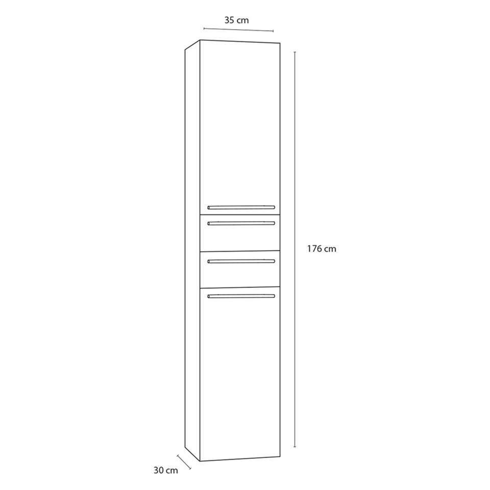 Differnz badkamerkast Force - hoogglans wit - rechts hoog - 35x30x176 cm