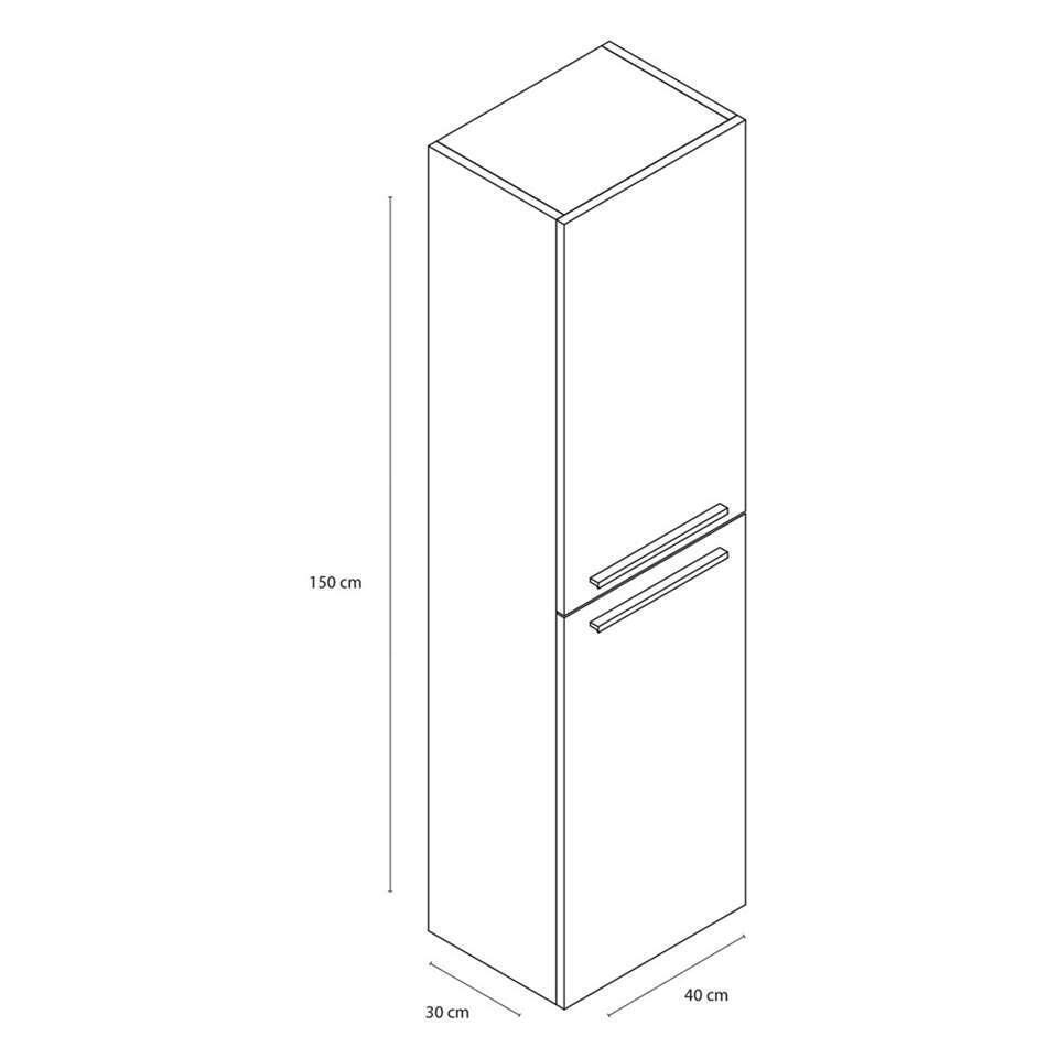 Differnz armoire de salle de bains Flow - gris chêne - en haut à gauche/à droite - 150x40x30 cm