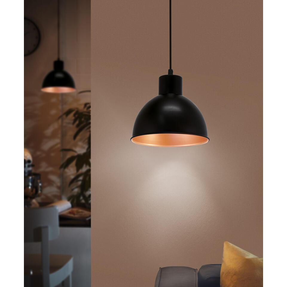 EGLO hanglamp Truro 1 - zwart/koper - Leen Bakker
