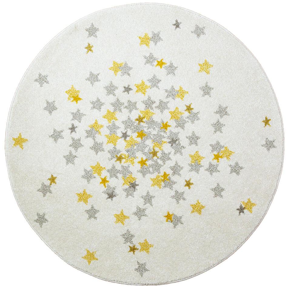 Art for Kids vloerkleed Nova - geel/grijs - Ø120 cm - Leen Bakker