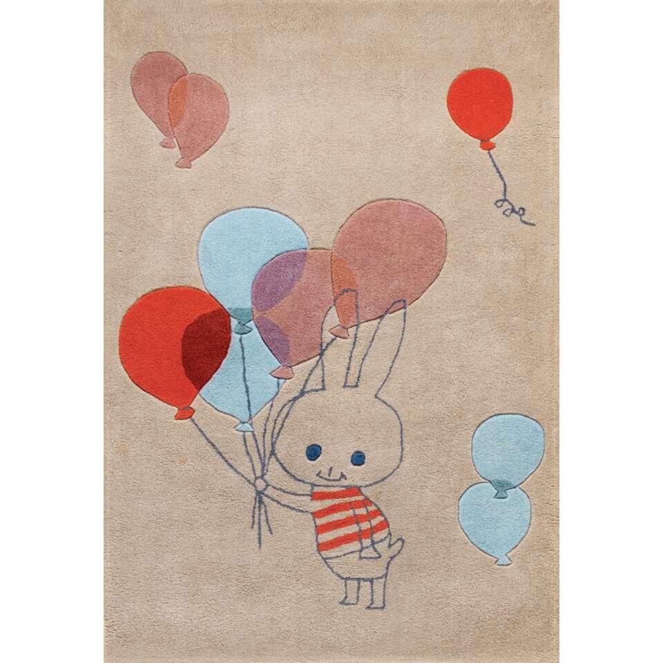 Art for Kids kindertapijt Balloon Rabbit - 110x160 cm - Leen Bakker
