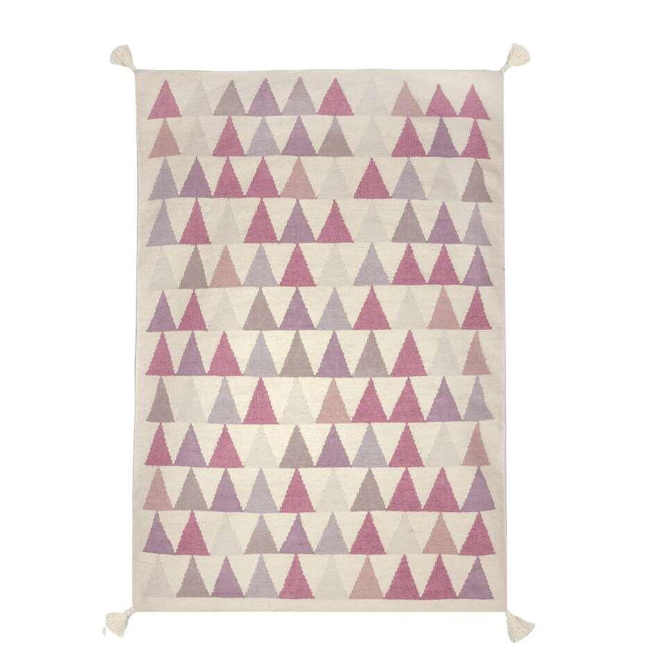 Art for Kids vloerkleed Driehoekjes - roze - 140x200 cm - Leen Bakker