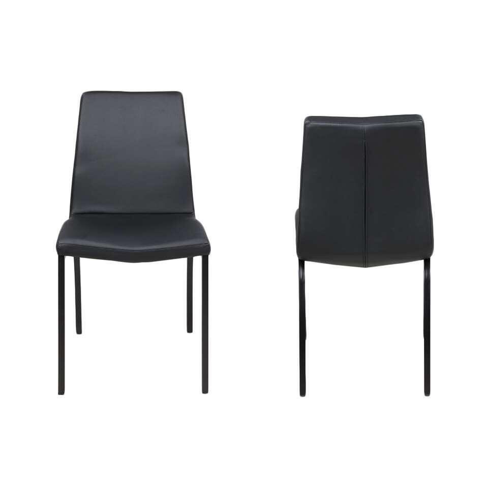 Chaise de salle à manger Hedegal - imitation cuir - noir (le lot de 4)