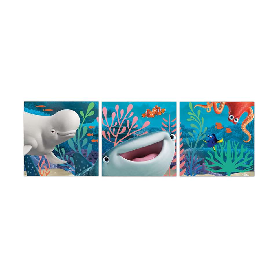 Graham & Brown canvas Finding Dory - blauw - 3-delig - 30x30 cm
