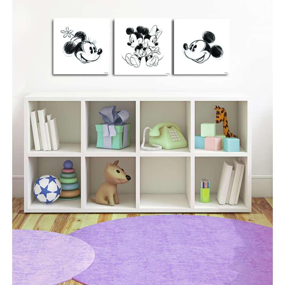 Graham & Brown canvas Mickey & Minnie - wit - 3-delig - 30x30 cm - Leen Bakker
