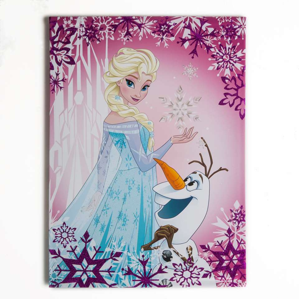 Graham & Brown canvas Disney Frozen Elsa & Olaf - roze - 50x70 cm