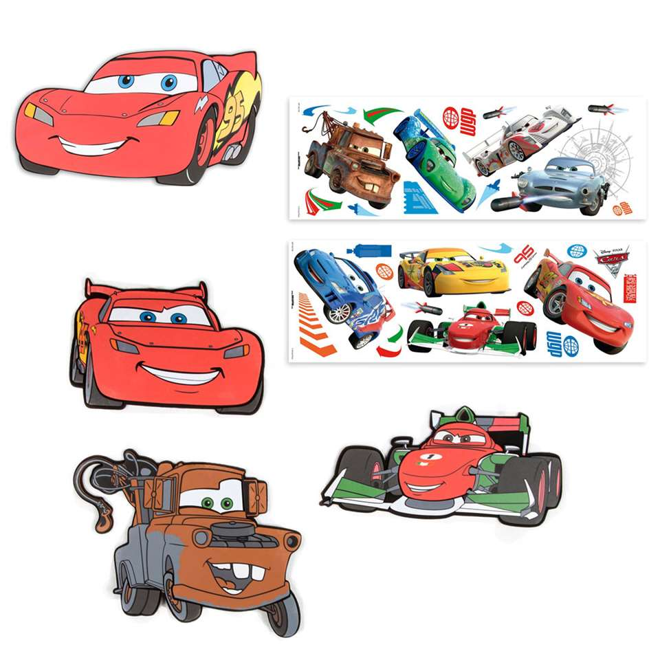 Graham & Brown muurdecoratie set Disney Cars - rood - 63x31 cm