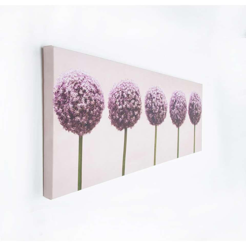 Graham & Brown canvas Rij van Alliums - paars - 100x40 cm - Leen Bakker