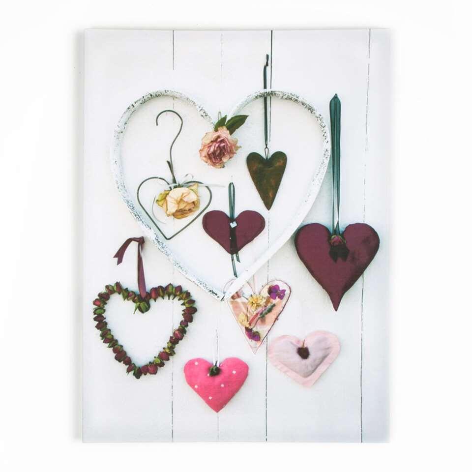 Graham & Brown canvas Hearts Compendium - paars - 50x70 cm - Leen Bakker