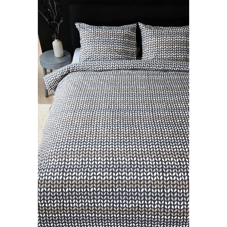 Ambiante dekbedovertrek Striped Knit - grijs - 240x200/220 cm - Leen Bakker