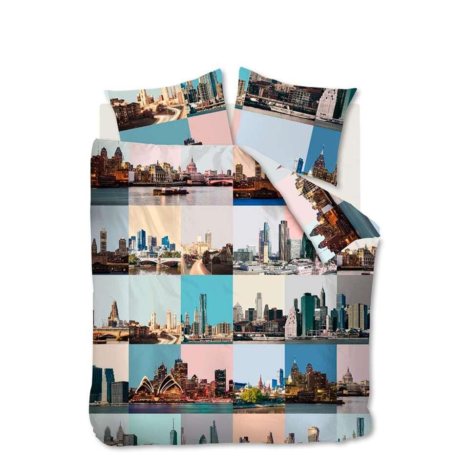 Ambiante dekbedovertrek City Fragments - roze - 140x200/220 cm - Leen Bakker