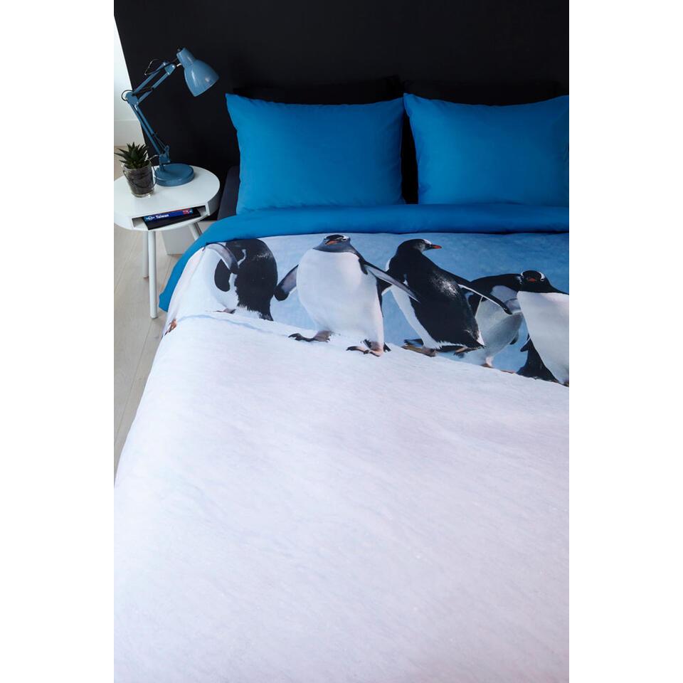 Ambiante dekbedovertrek Penguins - blauw - 140x200/220 cm - Leen Bakker