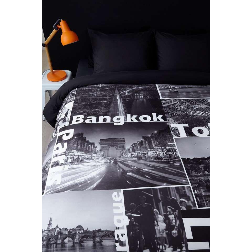 Ambiante dekbedovertrek Quinten - zwart - 240x200/220 cm - Leen Bakker