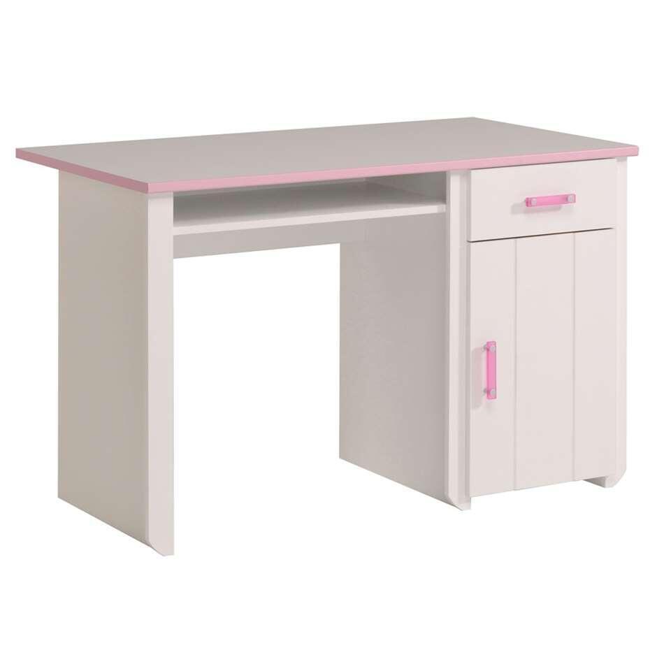 Bureau Kiki - wit/roze - 121x77x65 cm - Leen Bakker