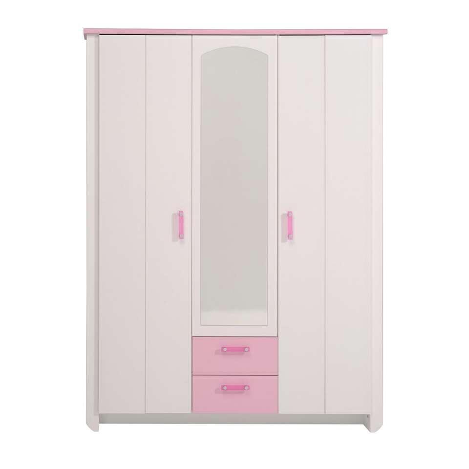 Kledingkast kast Kiki - wit/roze 136x181x56 cm - Leen Bakker
