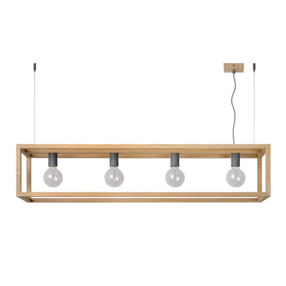 Deze Oris-hanglamp van Lucide is met zijn fineerhout zo licht als een veertje. Hang deze fijne verlichting met twee delicate staven aan het plafond in de woonkamer.