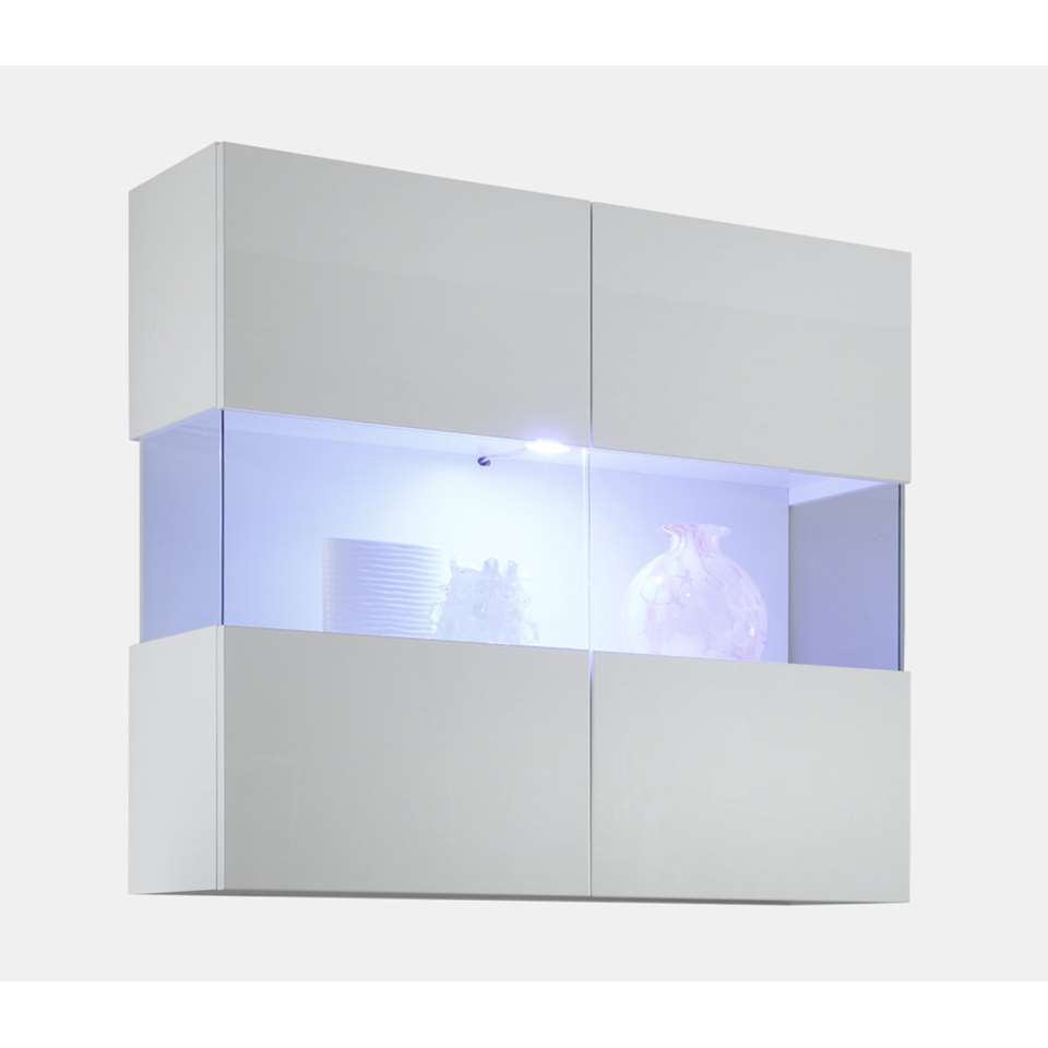Hangvitrine Mestre - hoogglans wit - 94x97x36 cm - Leen Bakker