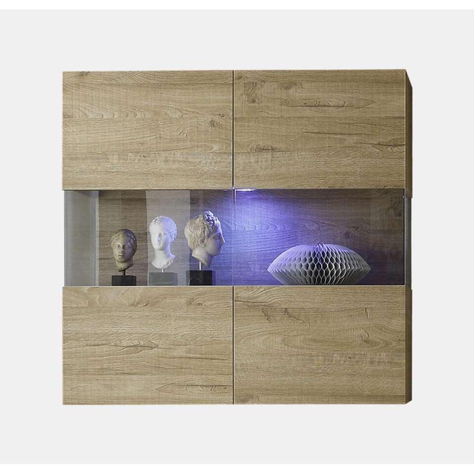 Hangvitrine Mestre - honing - 97x94x36 cm - Leen Bakker