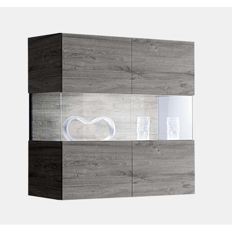 Hangvitrine Mestre - grijs - 97x94x36 cm - Leen Bakker
