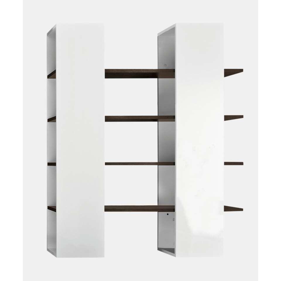 boekenkast mestre groot hoogglans witweng 161x132x36 cm leen bakker