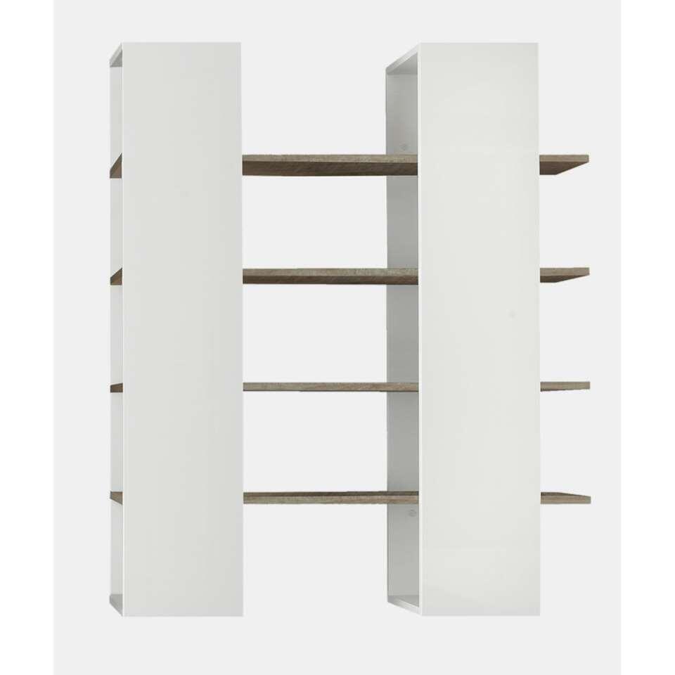 Boekenkast Mestre - groot - hoogglans wit/honing - 161x132x36 cm - Leen Bakker