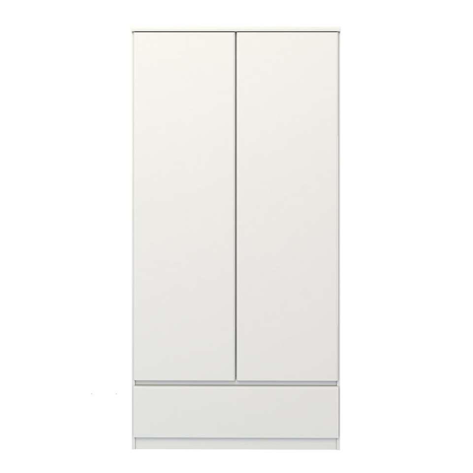 Kledingkast Naia 2-deurs - hoogglans wit - 50x99x201 cm - Leen Bakker