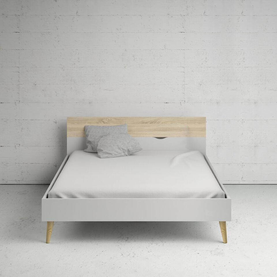 Bed Delta - wit/eikenkleur - 160x200 cm - Leen Bakker