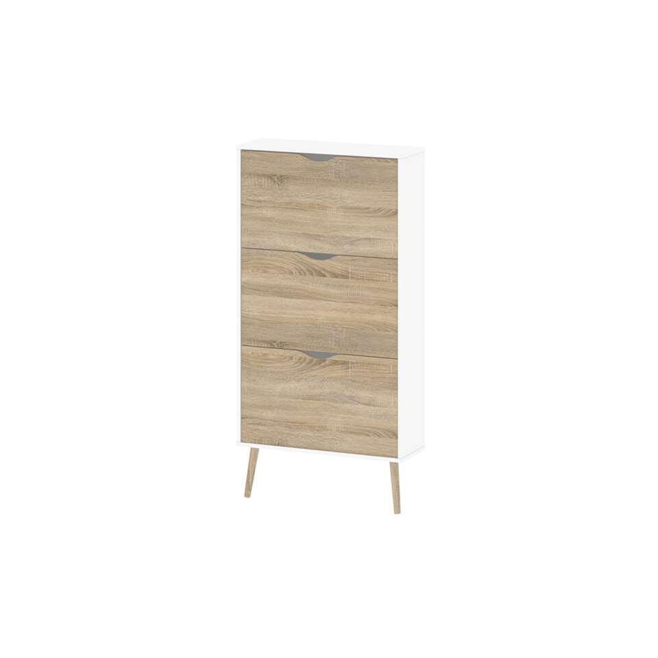 Schoenenkast Delta – wit/eikenhout – 138,8×70,2×23,9 cm – Leen Bakker