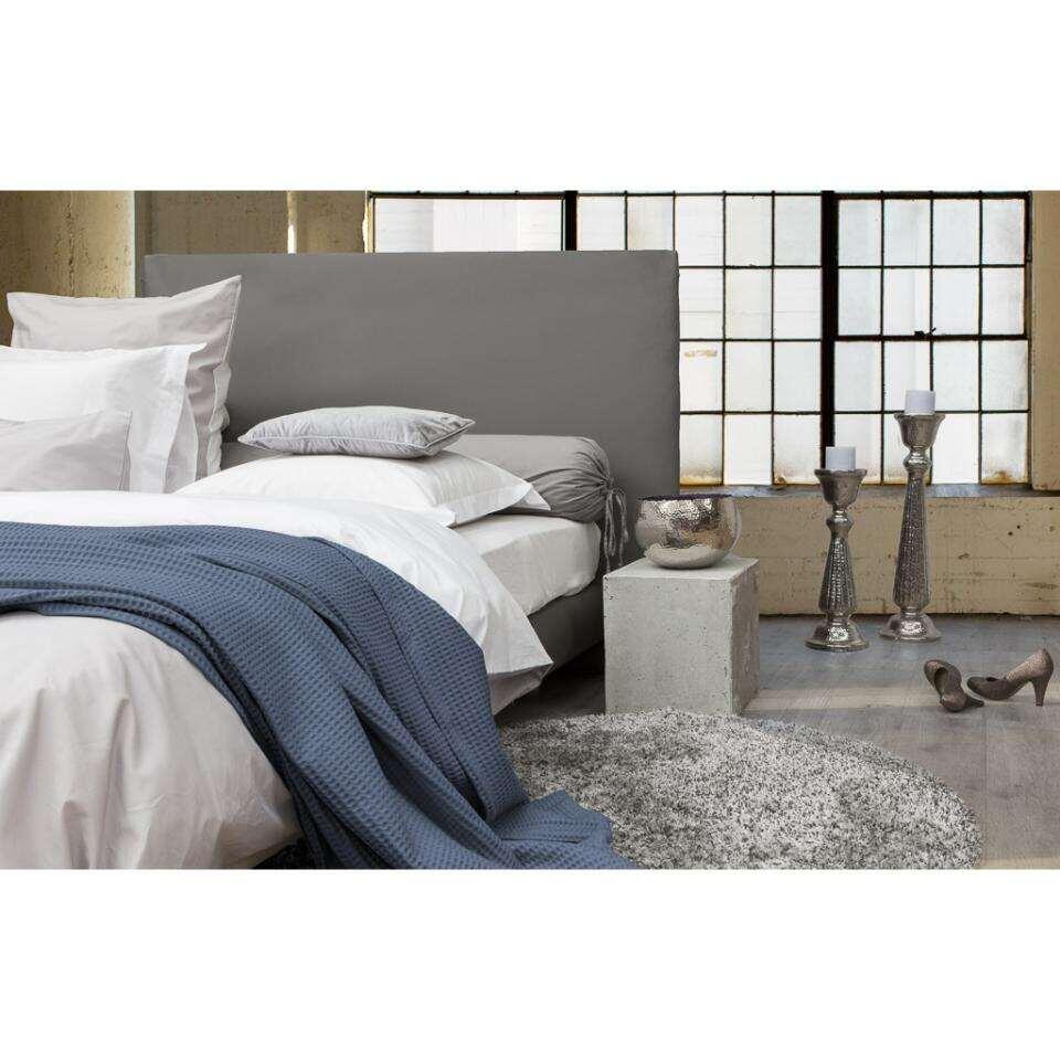 Heckett & Lane wafelplaid - 240x260 cm - blauw - Leen Bakker