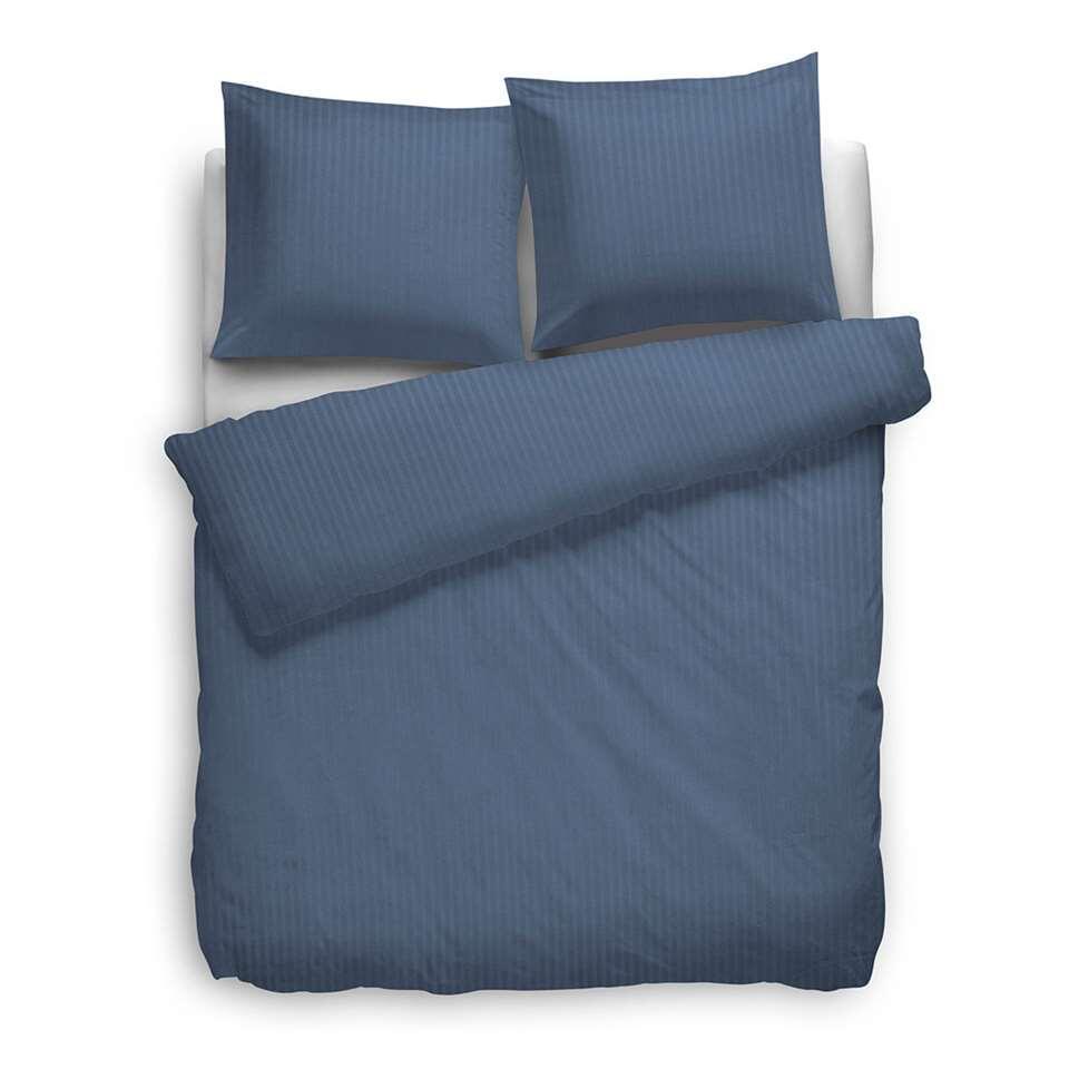 Heckett & Lane dekbedovertrek Satijnstreep - blauw - 260x220 cm - Leen Bakker