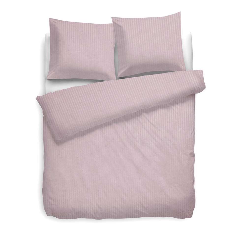 Heckett & Lane dekbedovertrek Satijnstreep - roze - 200x200 cm - Leen Bakker