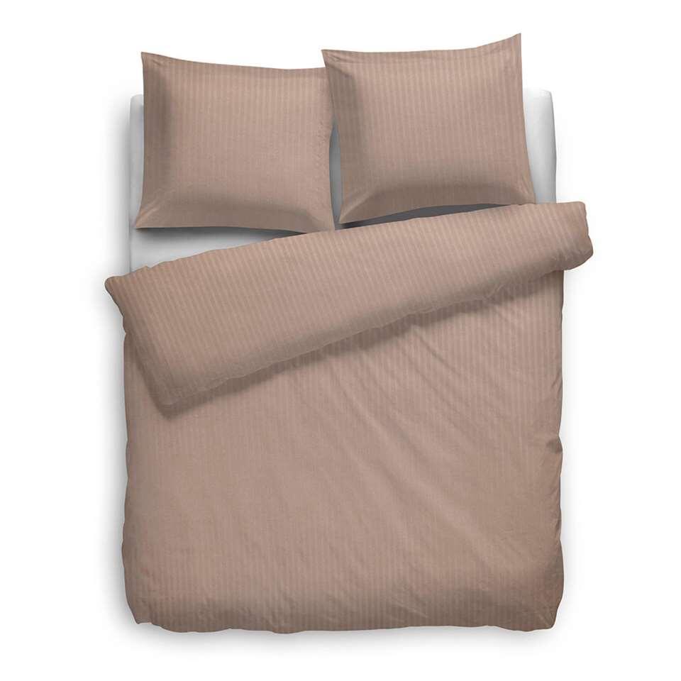Heckett & Lane dekbedovertrek Satijnstreep - misty roze - 200x200 cm - Leen Bakker
