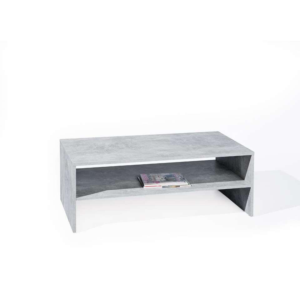 Salontafel Beton verraad eigenlijk al de looks van deze lage tafel. De tafel bezit rechte vormen en bevat een levensechte industriële betonkleur.