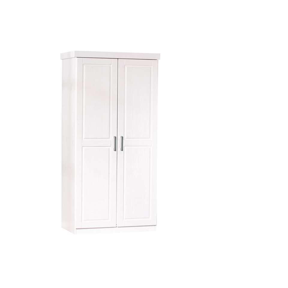 Kledingkast Hakon - wit - 190x95x55 cm - Leen Bakker