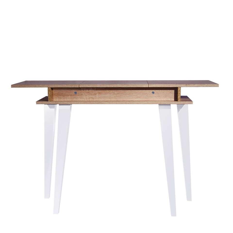 Wandtafel Heidal heeft strakke lijnen en wordt gekenmerkt door een puur design. Deze praktische kast heeft een opbergvak en klep. Dit meubel is opgebouwd uit spaanplaat en heeft een  lichtkleurig eikenhoutmotief.