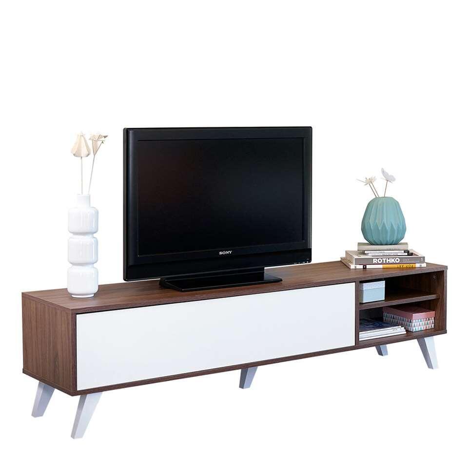 Symbiosis TV-meubel Heidal - walnootkleur/wit - 43,2x165x40 cm - Leen Bakker