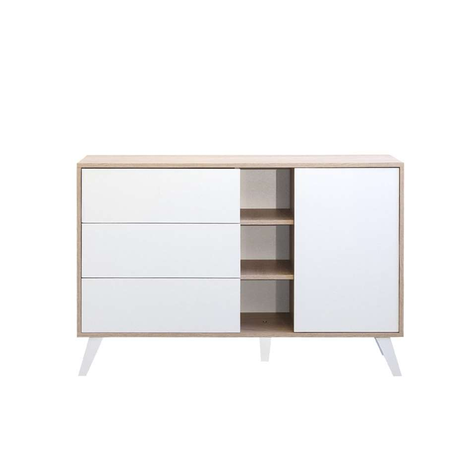 Symbiosis dressoir Heidal - eikenkleur/wit - 79,4x120x40 cm - Leen Bakker