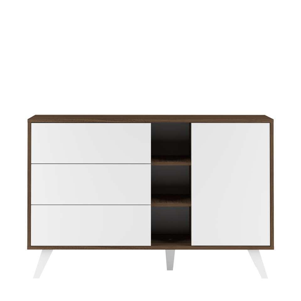 Symbiosis dressoir Heidal - walnootkleur/wit - 80x120x40 cm - Leen Bakker