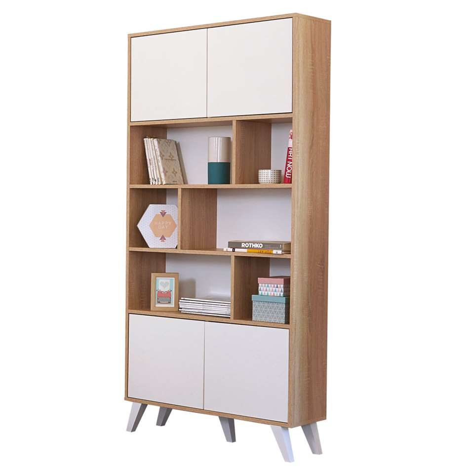 Symbiosis boekenkast Heidal - eikenkleur/wit - 186,5x89,5x28 cm - Leen Bakker