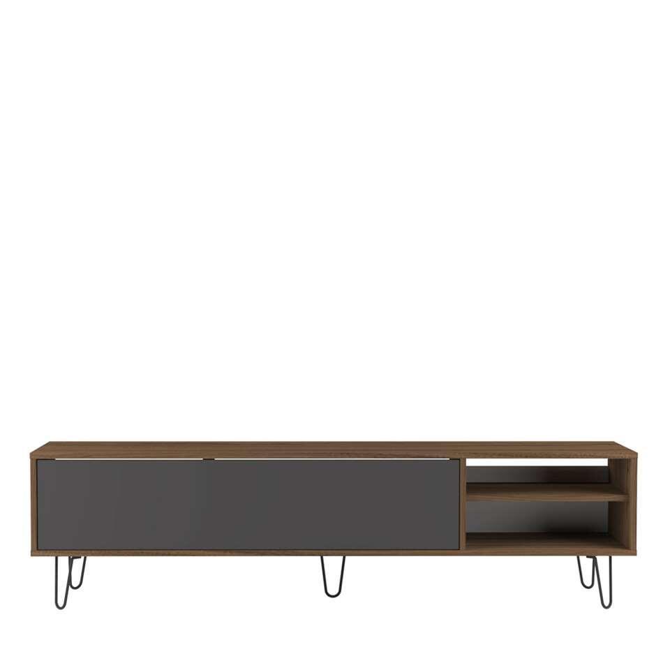 Symbiosis TV-meubel Lardal - walnootkleur/grijs - 43,5x165x40 cm - Leen Bakker