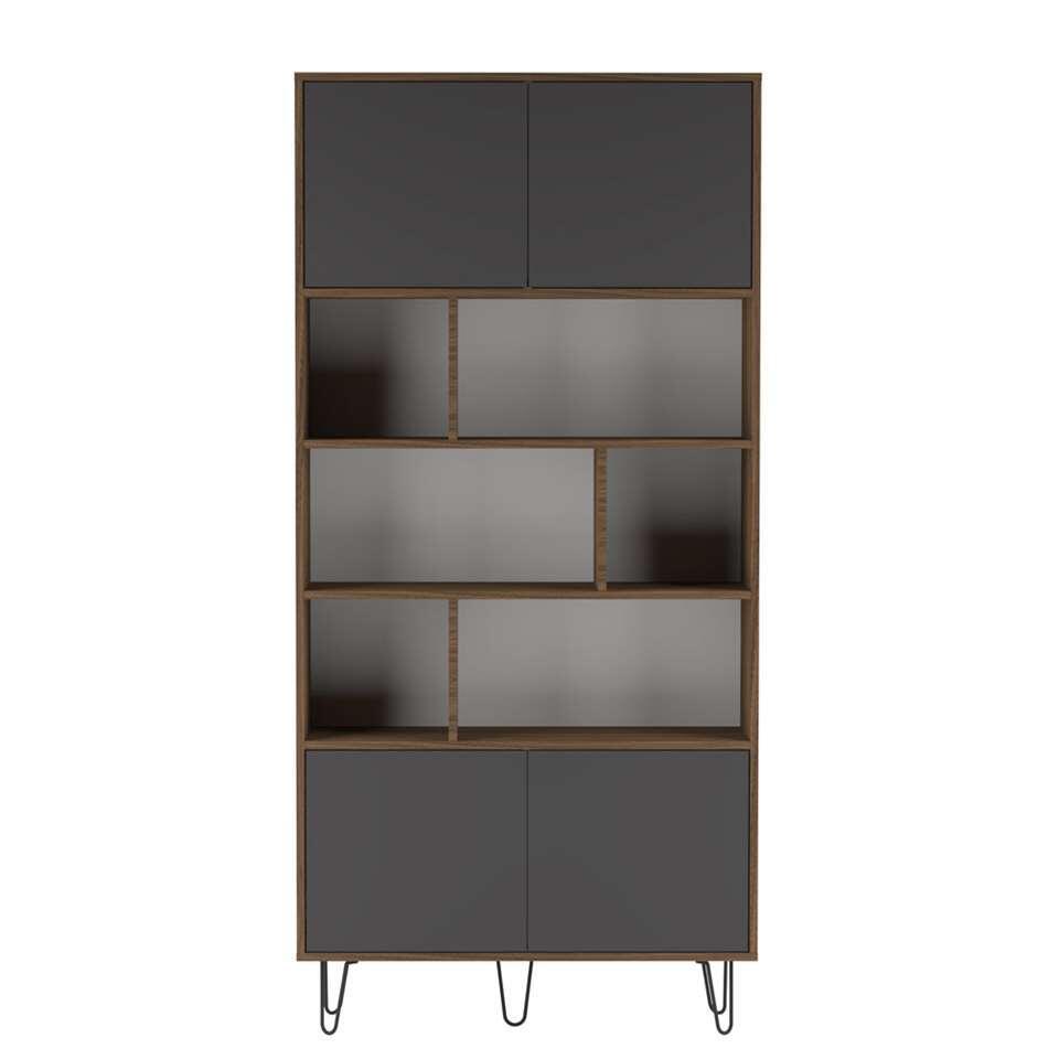 Symbiosis boekenkast Lardal - walnootkleur/grijs - 186,5x89,5x28 cm