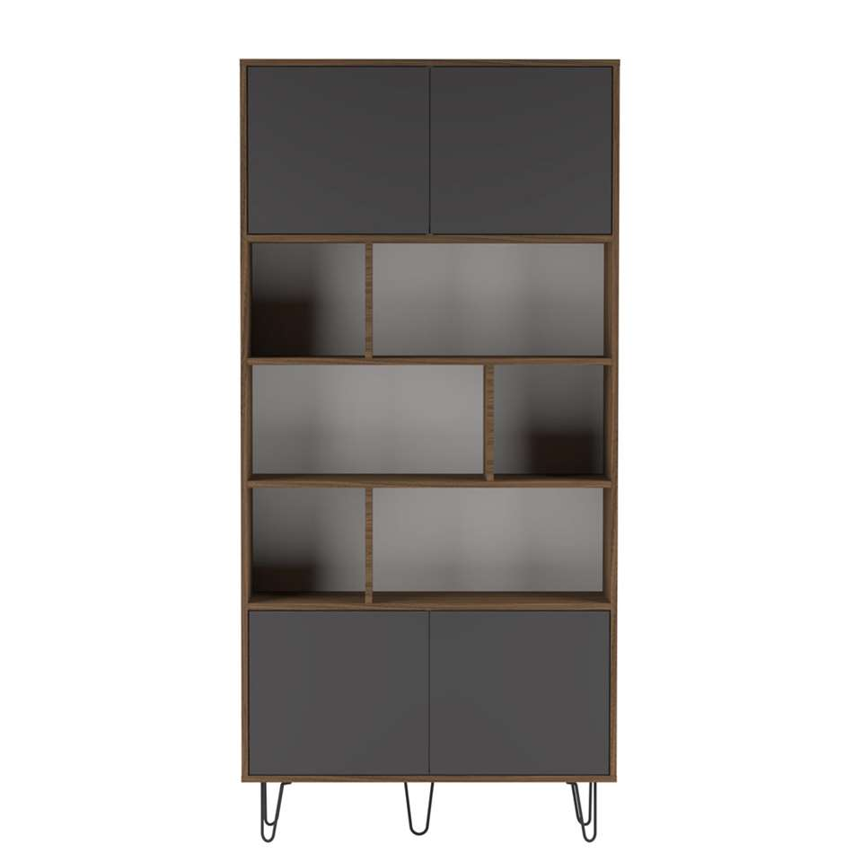 Symbiosis boekenkast Lardal - walnootkleur/grijs - 186,5x89,5x28 cm - Leen Bakker